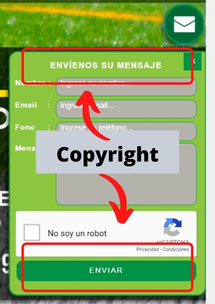 Errores copyright formularios